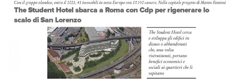 Matteo Fantoni News - The Student Hotel sbarca a Roma - Progetto Matteo Fantoni Studio