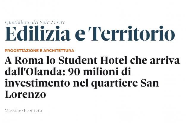 A Roma lo Student Hotel che arriva dall\'Olanda: 90 milioni di investimento nel quartiere San Lorenzo
