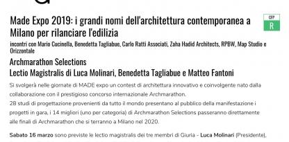Made Expo 2019. I grandi nomi dell architettura contemporanea a Milano per rilanciare l edilizia