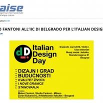 MATTEO FANTONI ALL IIC DI BELGRADO PER L ITALIAN DESIGN DAY